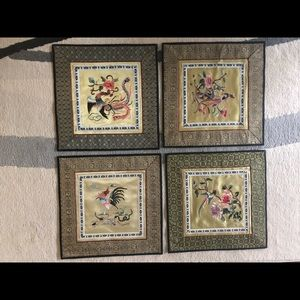 Decorative vintage embroidered panels 100% silk
